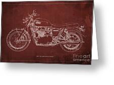 1969 Triumph Bonneville Blueprint Red Background Greeting Card