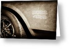 1970 Ford Mustang Boss 429 Wheel Emblem -0370s Greeting Card
