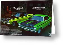 1971 Plymouth Duster 340 And Twister Greeting Card
