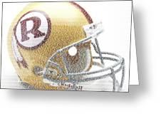 1971 Redskins Helmet Greatest Players Mosaic Greeting Card by Paul Van Scott