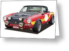 1972 Fiat Abarth 124 Rally Illustration Greeting Card