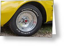 1976 Canary Yellow Vette Wheel Greeting Card