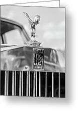 1976 Rolls Royce Saloon Hood Ornament Bw Greeting Card