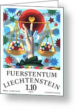 1977 Liechtenstein Libra Postage Stamp Greeting Card