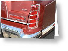 1977 Lincoln Continental Mark V With Tail Lights And Logo Greeting Card