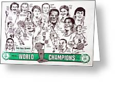 1986 Boston Celtics Championship Newspaper Poster Greeting Card