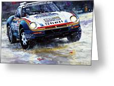 1986 Porsche 959/50 #185 2nd Dakar Rally Raid Ickx, Brasseur Greeting Card