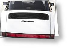 1987 White Porsche 911 Carrera Back Greeting Card