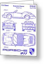 1990 Porsche 911 Patent Blueprint Greeting Card