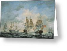 19th Century Naval Engagement In Home Waters Greeting Card by Richard Willis