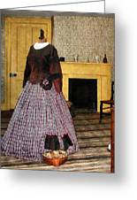 19th Century Plaid Dress Greeting Card