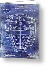 1887 Baseball Mask Patent Blue Greeting Card