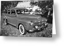 1942 Ford Super Deluxe Sedan Bw  Greeting Card