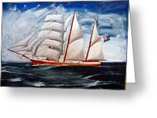 3 Master Tall Ship Greeting Card
