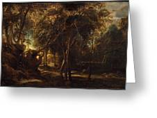 A Forest At Dawn With A Deer Hunt Greeting Card