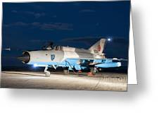 A Romanian Air Force Mig-21c Airplane Greeting Card