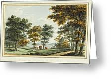 A Scene In The Garden At Brandsbury Greeting Card