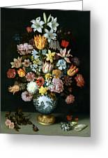 A Still Life Of Flowers Greeting Card