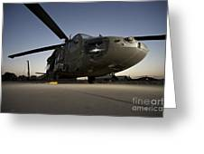 A Uh-60l Blackhawk Parked On Its Pad Greeting Card