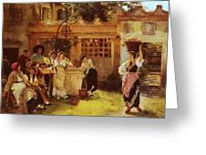 A Venetian Fan Seller Henry Woods Greeting Card