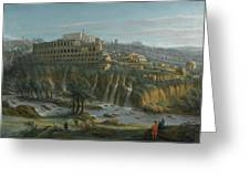 A View Of The Waterfalls And The Villa Of Maecenas Greeting Card