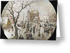 A Winter Scene With Skaters Near A Castle Greeting Card