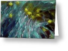 Abstract 92 Digital Oil Painting On Canvas Full Of Texture And Brig Greeting Card