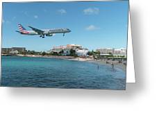 American Airlines Landing At St. Maarten Greeting Card