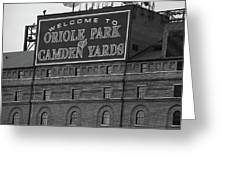 Baltimore Orioles Park At Camden Yards Bw Greeting Card