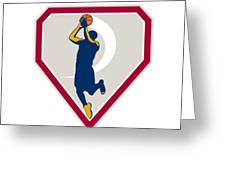 Basketball Player Jump Shot Ball Shield Retro Greeting Card