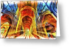 Bath Abbey Sun Rays Art Greeting Card