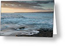 Beautiful Dramatic Sunset Over A Rocky Coast Greeting Card