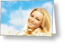 Beautiful Woman Enjoying Daisy Field And Blue Sky Greeting Card