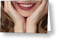 Beautiful Young Smiling Woman Greeting Card
