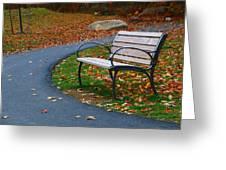 Bench On The Walk Greeting Card by Rick Morgan