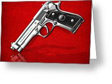 Beretta 92fs Inox Over Red Leather  Greeting Card