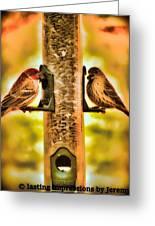 2 Bird's Eating  Greeting Card
