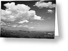 Black And White Blue Ridge Mountains Greeting Card