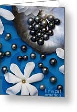 Black Pearls And Tiare Flowers Greeting Card
