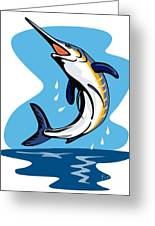 Blue Marlin Jumping Greeting Card by Aloysius Patrimonio