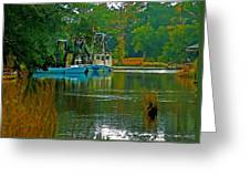 2 Blue Shrimp Boats Greeting Card