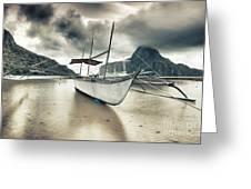 Boat At Sunset Greeting Card
