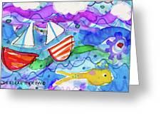 2 Boats And Yellow Fish Greeting Card