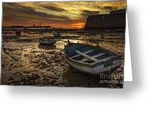Boats On La Caleta Cadiz Spain Greeting Card