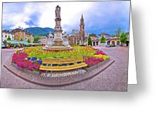 Bolzano Main Square Waltherplatz Panoramic View Greeting Card