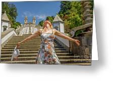 Braga Portugal Woman Greeting Card