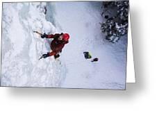 Brandon Prince Climbing Genesis I Area In Hyalite Canyon  Greeting Card