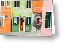 Burano Anisland Of Multi Colored Homes On Canals North Of Venice Italy Greeting Card