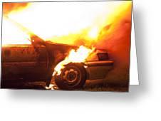 Burning Car Greeting Card