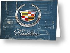 Cadillac 3 D Badge Over Cadillac Escalade Blueprint  Greeting Card